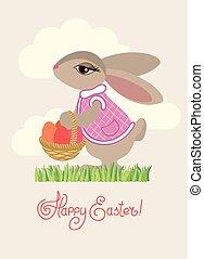 eggs., saudação, coelho, cesta, páscoa, cartão