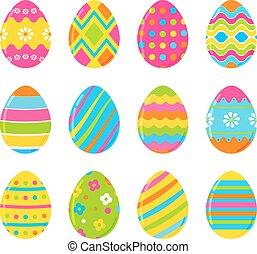 eggs., set, kleurrijke, vrijstaand, versiering, achtergrond., vector, witte , pasen, design.