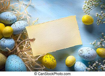 eggs., sztuka, barwny, jaja, tło, wielkanoc
