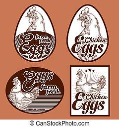Eggs vintage labels
