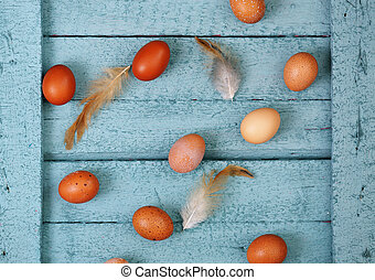 eggs with feathers on a wooden background