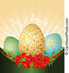 Eggs with flowers.