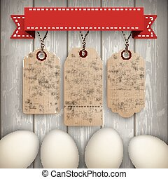 Eggs Wooden Centre 3 Price Stickers Ribbon