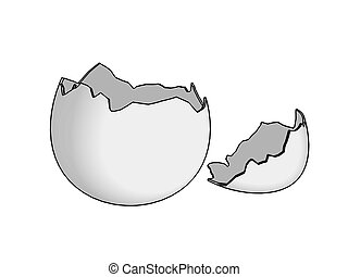 Empty broken eggshell with top, painted 2D, isolated over white