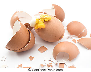 eggshell broken while cooking on white background