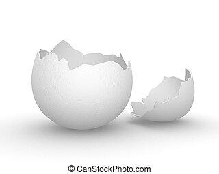 Eggshell empty mkII - Broken empty eggshell with top,...