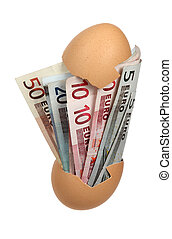 eggshell with european bank notes