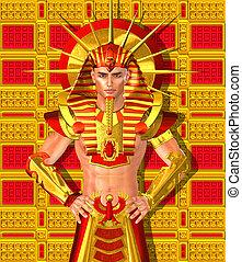 egipcio, arte, faraón, digital