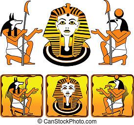 egipcio, azulejos, dioses