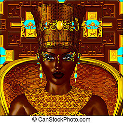 egipcio, digital, princesa, negro, arte