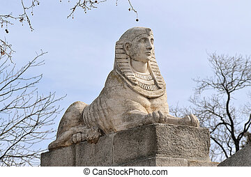 egipcio, esfinge, en, madrid, españa