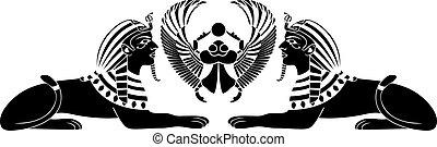 egipcio, esfinge, escarabajo, negro
