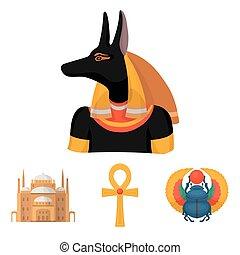 egipcio, estilo, acción, ankh, iconos, símbolo, anubis, web...