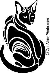 egipcio, gato, sphynx, negro