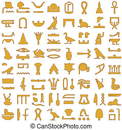 egipcio, jeroglíficos, decoración, 2, conjunto
