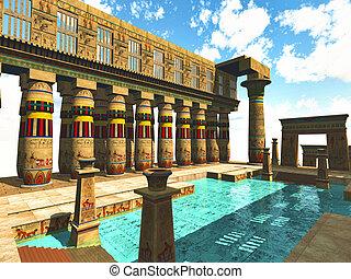 egipcio, piscina, natación