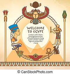 egipcio, plano de fondo, marco