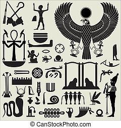 egipcio, símbolos, 2, conjunto, señales