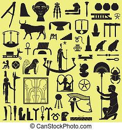 egipcio, símbolos, 3, conjunto, señales