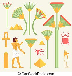 egipcio, símbolos, señales