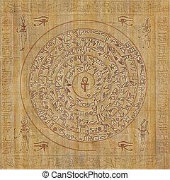 egipcio, sigil, jeroglíficos, magia
