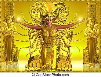 egipcio, temple., dorado