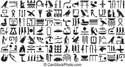 egipcjanin, hieroglyphs, 2, starożytny, komplet
