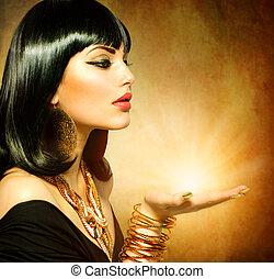 egipcjanin, styl, kobieta, z, magia, lekki, w, jej, ręka
