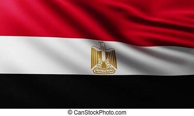 egipcjanin, tło, trzepotliwy, wiatr, wielki, bandera