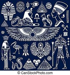 egipt, symbolika, komplet, odizolowany, wektor