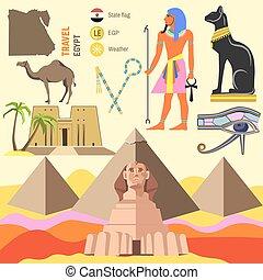 egipt, symbols., wektor, komplet