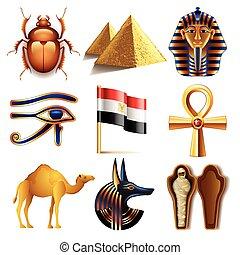 egipt, wektor, komplet, ikony