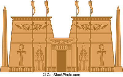 Egiptian Temple - Illustration of the Egyptian Temple...