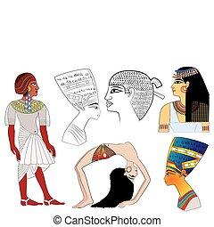 egipto, antiguo, elementos, -, vector