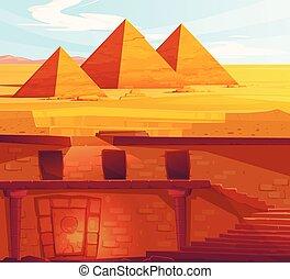 egipto, antiguo, faraón, metro, perdido, tumba