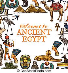 egipto antiguo, país, viaje, símbolos