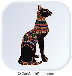 egipto, color, gato