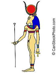 egipto, -, diosa, antiguo, hathor