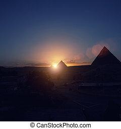 egipto, el cairo, giza., -, general, pirámides, vista