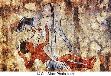 Egipto, erótico, antiguo, arte