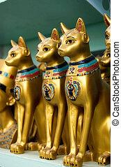 egipto, gatos, estatuas, oro