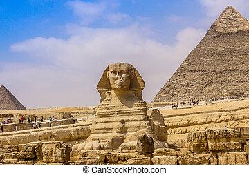 egipto, gran pirámide, esfinge