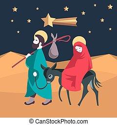 egipto, ilustración, jesús, natividad, joseph, huya, maría