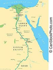 egipto, mapa, antiguo