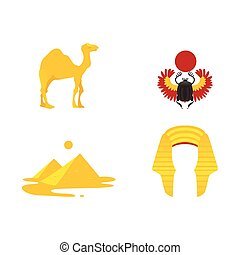 egipto, símbolos, -, corona, camello, pirámides, escarabajo