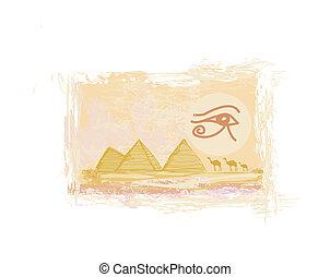 egipto, símbolos, y, pirámides, -, tradicional, horus, ojo, símbolo, y, camello, silueta, en frente