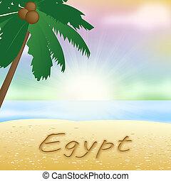 egipto, soleado, ilustración, significado, feriado, playa, 3d
