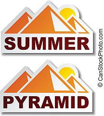 egipto, verano, vector, pegatinas, pirámide
