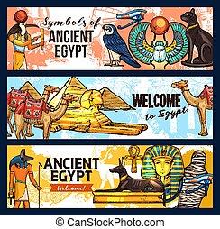 egipto, viaje, antiguo, turismo, banderas