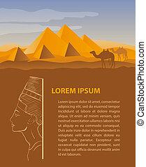egipto, viaje, diseño, plantilla